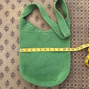 The Sak Black Crochet Green Shoulder Bag
